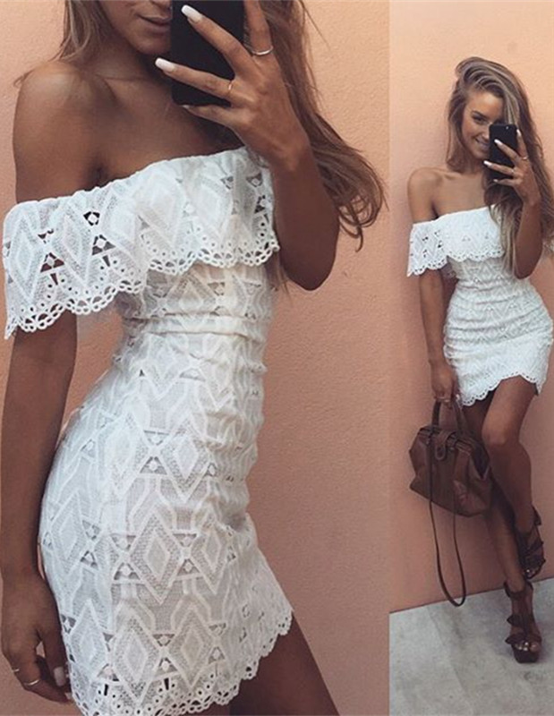 Cute White Lace Off-the-shoulder Homecoming Dress | 2019 Short Formal Dress