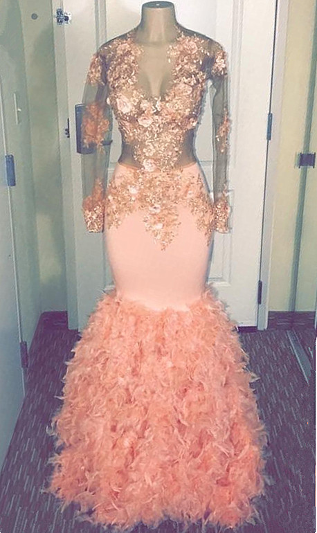 Coral Pink Mermaid Long Sleeve Long Prom Dresses Cheap | Sheer Tulle Appliques Ruffles Formal Dresses