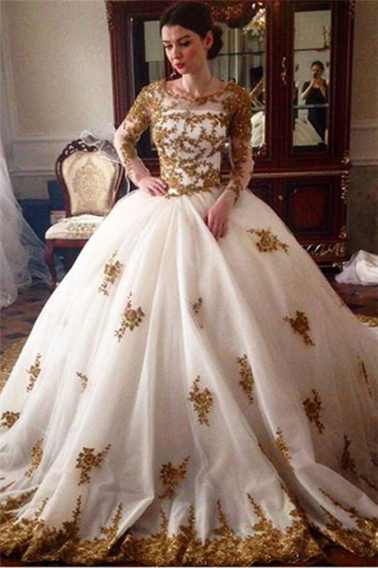 Sexy Tulle Lace Appliques Ball Gown Wedding Dresses Long Sleeve Bridal Gowns