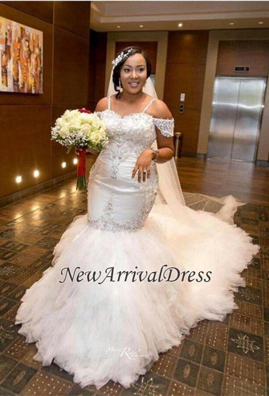 Cap-Sleeve Gorgeous Appliques Plus-Size Mermaid Lace Wedding Dress ...