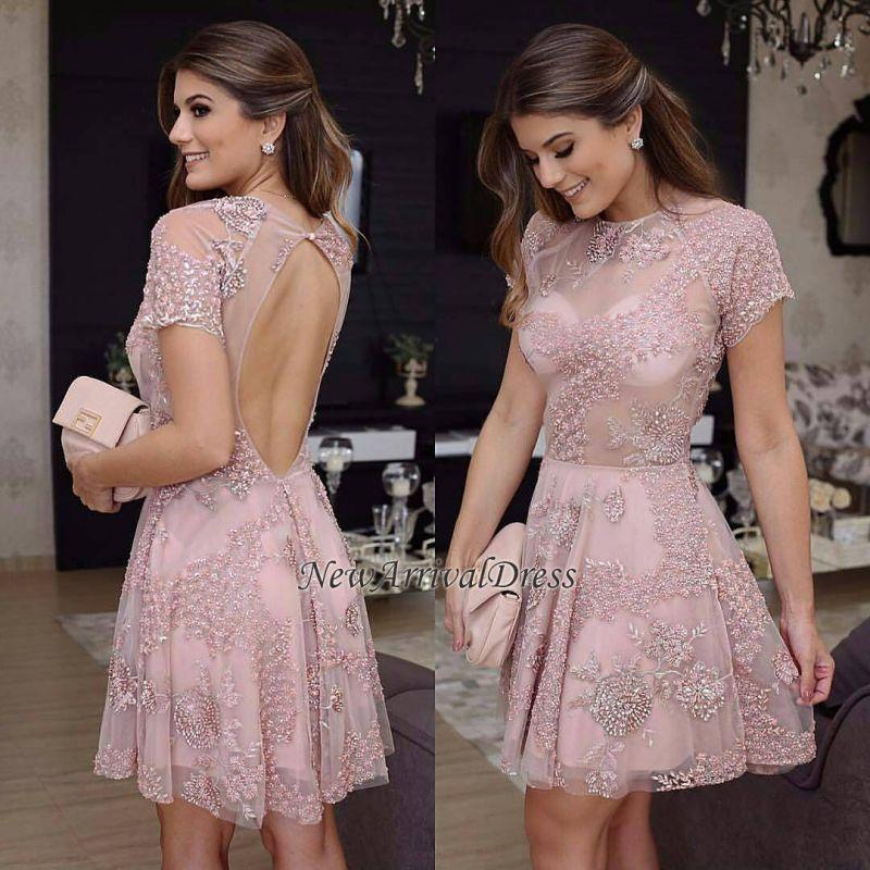 Short-Sleeves Mini Pink Open-Back Homecoming Dress | Short Prom Dress