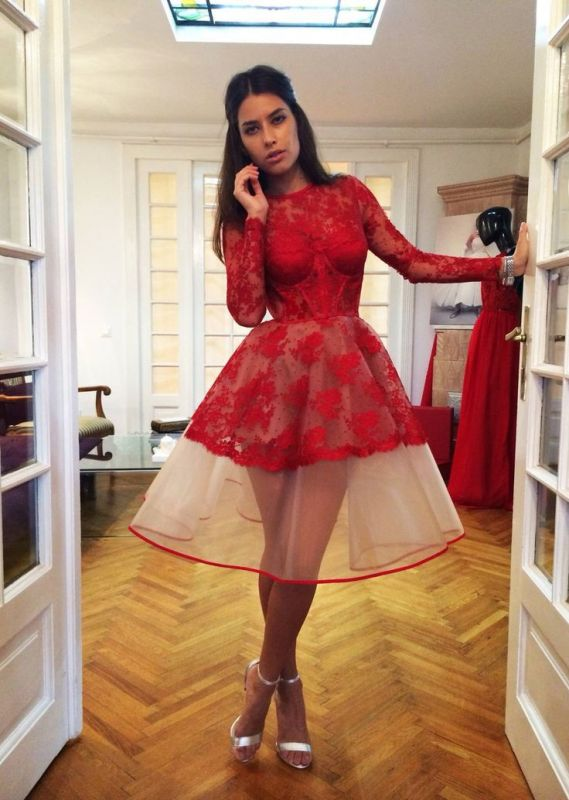 Popular Lace Red Charming Long-Sleeve Appliques Sheer Homecoming Dresses