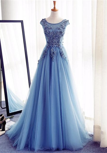 Elegant Illusion Sleeveless Lace Appliques Custom Made A-line Lace-up Prom Dresses Cheap