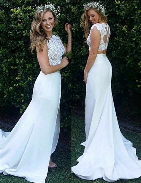 Zipper Sweep Train Mermaid Beautiful Lace Modest Two Piece Wedding Dresses