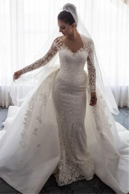 Gorgeous Mermaid Wedding Dresses with Sleeves | Bowknot Detachable Overskirt Bridal Dresses
