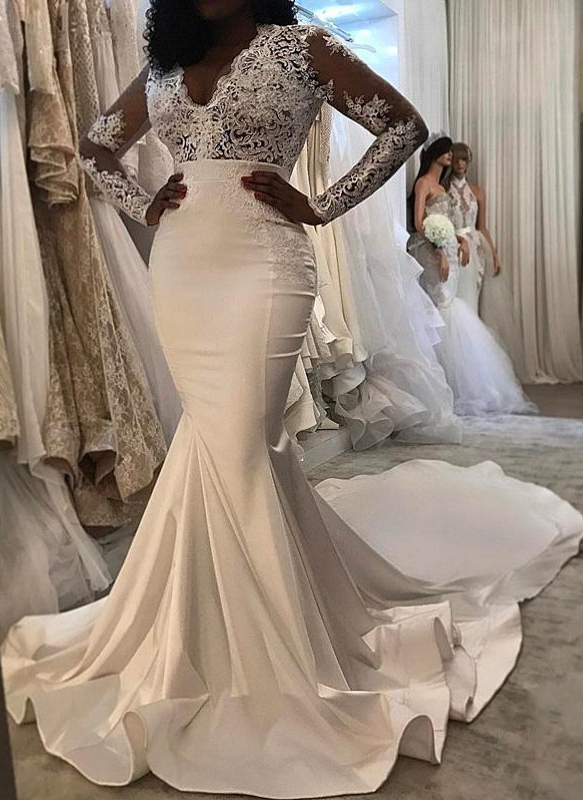 Sexy Lace Mermaid Wedding Dresses Cheap | Long Sleeve Wedding Dresses