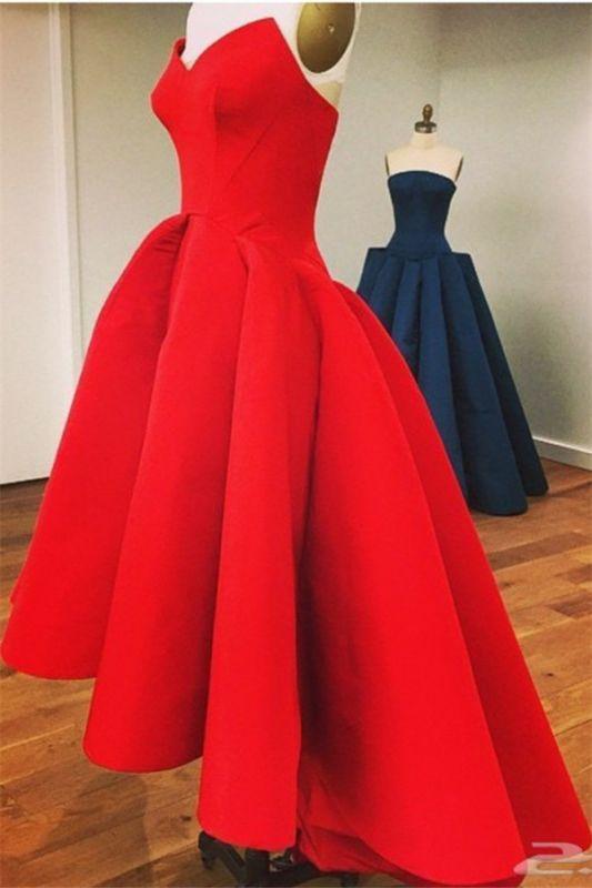 Sexy Red Sweetheart Hi-Lo Satin Simple Design Elegant Prom Dress