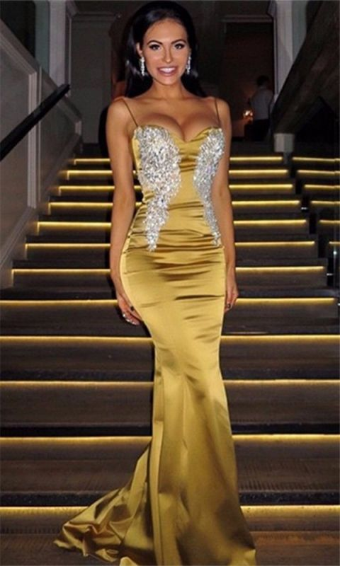 Spaghetti Straps Long Mermaid Gold Formal Gowns Silver Appliques Cheap Formal Dress BA7170