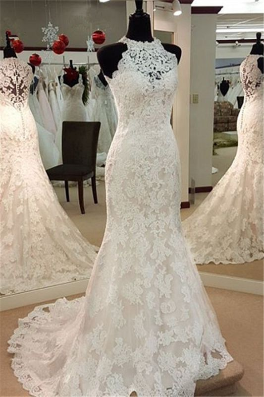 Vintage High Neck Mermaid Lace Wedding Dresses Cheap Sleeveless Vintage Bridal Dress BA3705