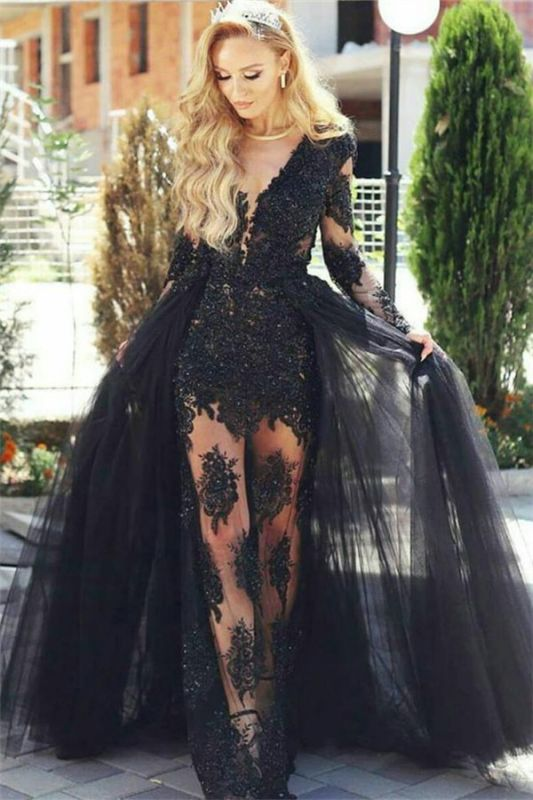Glamorous Black Tulle Lace Prom Dresses Online | Long Sleeve Formal Gowns with Detachable Skirt BA7963