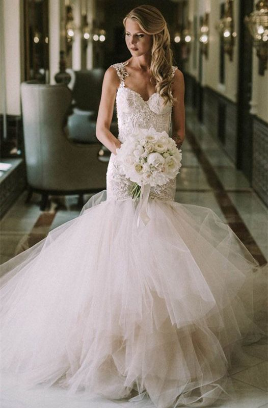 Gorgeous Lace Mermaid Bridal Dresses | New Arrival Tulle Wedding Dresses Cheap