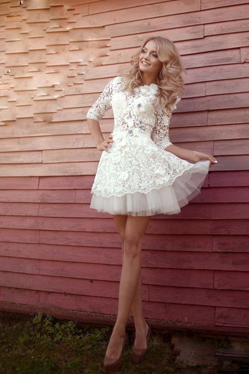 3D-Floral Appliques Half Sleeve Sexy Short Wedding Dresses Cheap Online