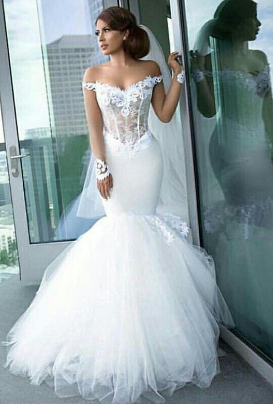 Long Sleeve Tulle Elegant Lace Appliques Mermaid Custom Made Off The Shoulder Wedding Dress Cheap