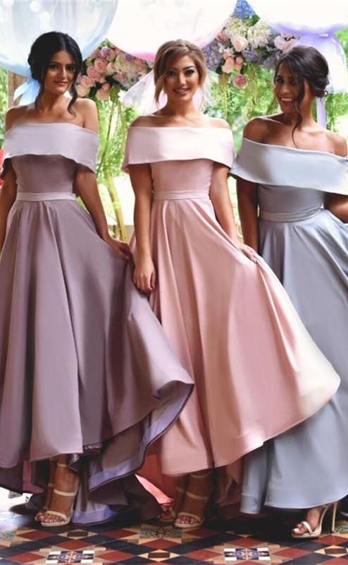 Elegant Off-the-shoulder A-line Sweep Train A-line Bridesmaid Dress