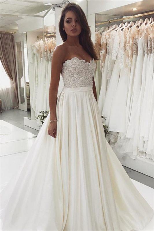 2020 Robe de mariée en satin et dentelle glamour | Robe de mariée pas chère BC0715