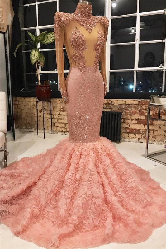 Long Sleeve Long Prom Dresses Cheap for Juniors Online | Mermaid Lace Appliques Pink Formal Dresses BC1133