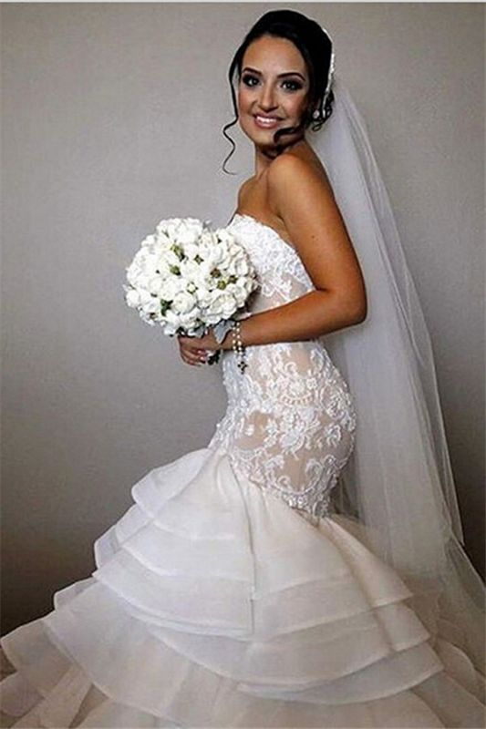 Elegant Lace Mermaid Wedding Dresses Cheap Tiered Open Back Strapless Wedding Gowns BA1540