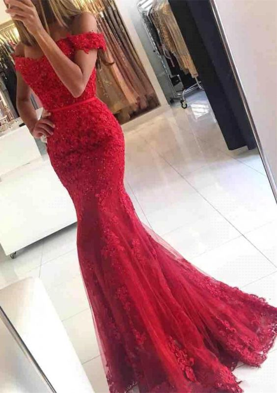 Red Off-the-shoulder Lace Appliques Mermaid Glamorous Evening Dress
