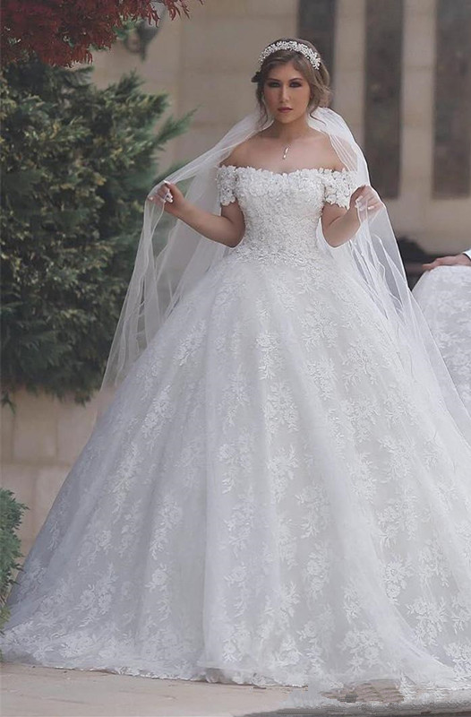 Arabic Off The Shoulder Sweetheart Lace-Up-Back Custom Made Ball Gown Wedding Dresses Cheap