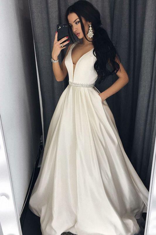 Modern V-neck Sleeveless A-line Floor-length Prom Dress