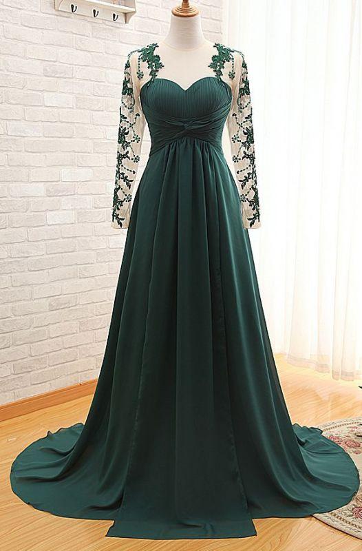 Dark Green Long Sleeve Formal Dresses for Women | Appliques Chiffon Evening Gowns