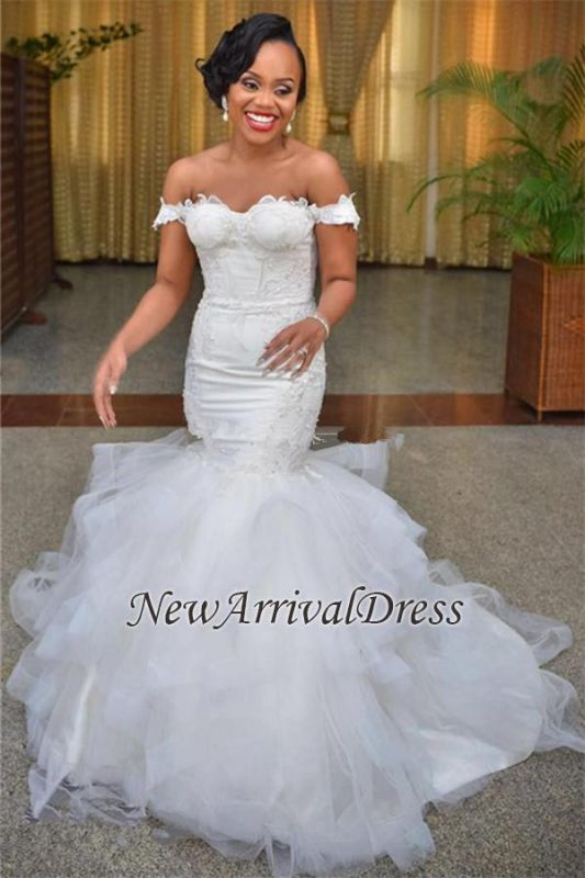 Short-Sleeve Off-the-shoulder Lace-up Tulle Modest Lace Mermaid Wedding Dress