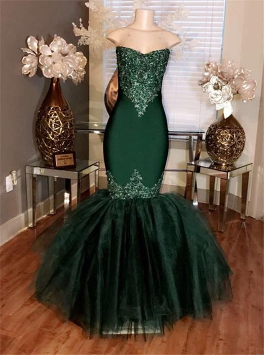 Strapless Mermaid Tulle Appliques Sexy Dark Green Prom Dresses