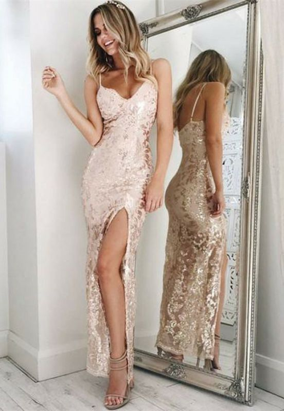 Spaghetti-Straps Sequins Prom Dress |Long Evening Gowns With Slit