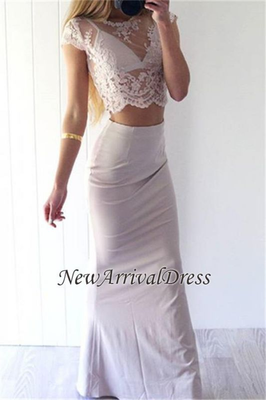 Lace Two-Pieces Glamorous Short-Sleeves Sexy Sheath Prom Dress