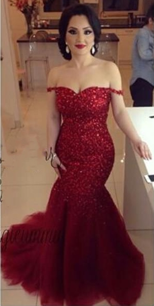44d9dc9721b5 Off the Shoulder Red Mermaid Prom Dresses Sexy Tulle Evening Gowns ...