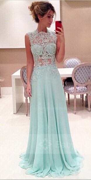High Neck Lace A-Line Evening Dresses Sweep Train Chiffon Prom Gowns ... bbd6c995f