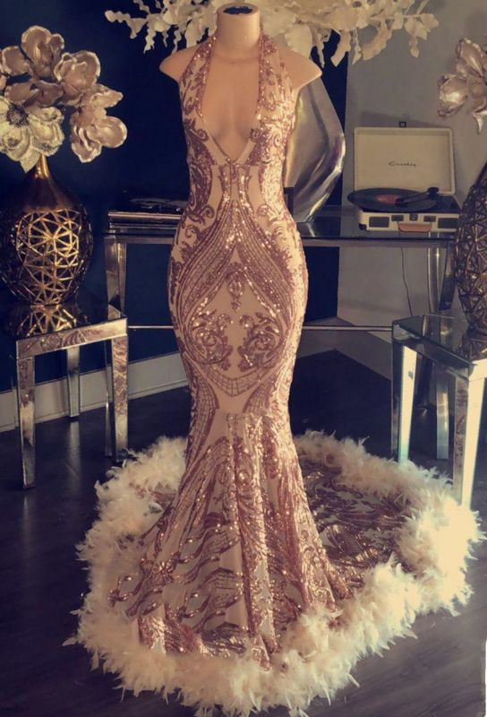 Halter V-neck Sparkling Appliques Long Prom Dresses Cheap | Sleeveless Formal Dresses with Feather BC1048