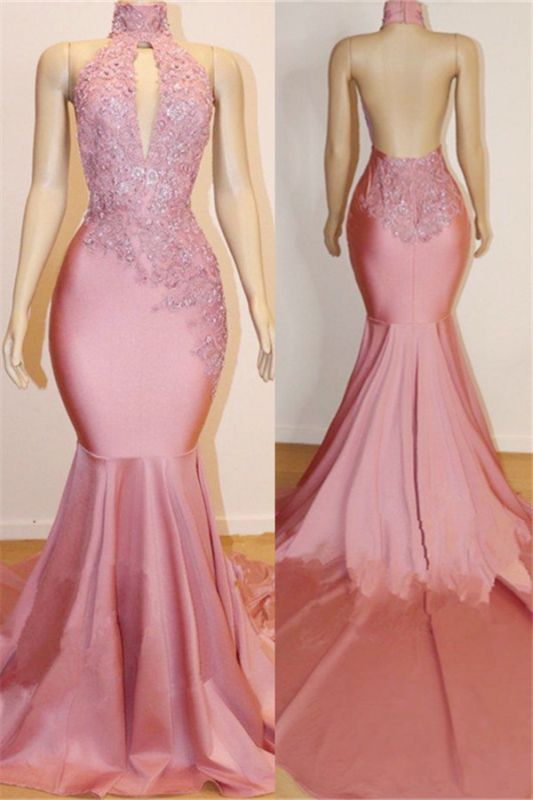 Open Back Mermaid Long Prom Dresses Cheap for Juniors | Sleeveless Appliques Pink Formal Dresses