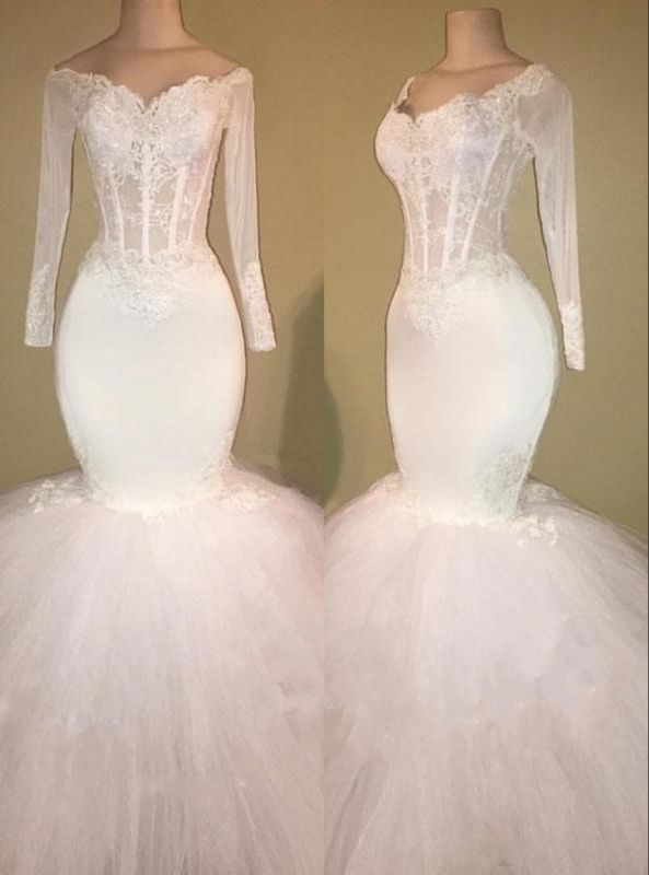 White Mermaid Long Prom Dresses Cheap | Off The Shoulder Long Sleeve Bridal Gowns