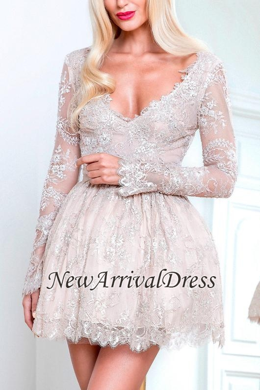 Long-Sleeve Lace Short Champagne Homecoming Dresses