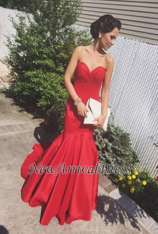 Newest Mermaid Sweep-Train Red Sweetheart Sleeveless Prom Dress