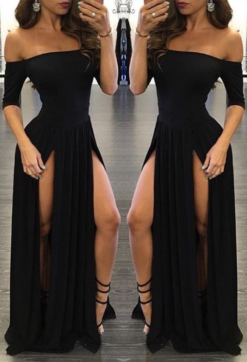 Chiffon Sexy Off-the-shoulder Half-Sleeve Black Split Prom Dress