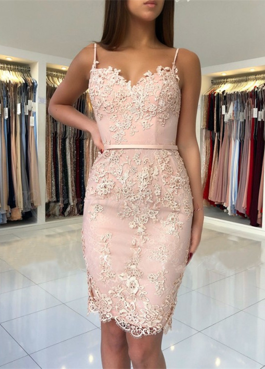 Spaghetti-Straps Sweetheart Short Prom Dress  Mermaid Lace Appliques Homecoming Dress BA9829