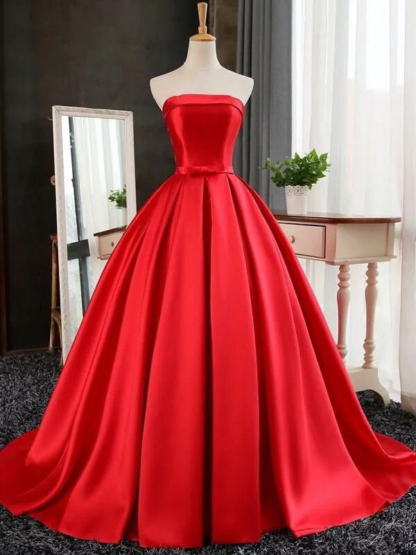 Strapless Red Bows-Sashes Puffy Simple Long Prom Dresses Cheap BA8232