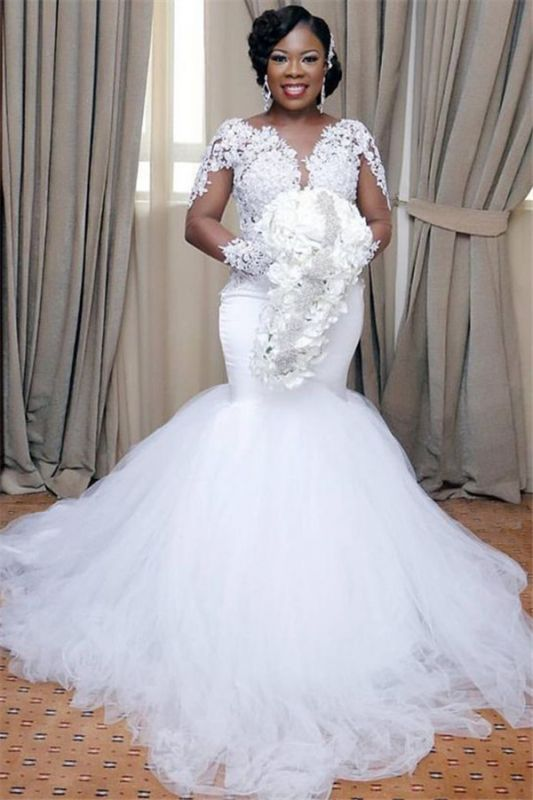 Sexy Mermaid Tulle Wedding Dresses | Long Sleeve Bridal Gowns Cheap Online