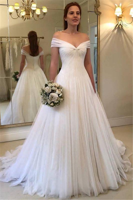 Simple A-Line Off Shoulder Wedding Dresses | 2021 Tulle Elegant Bridal Gowns BC1556