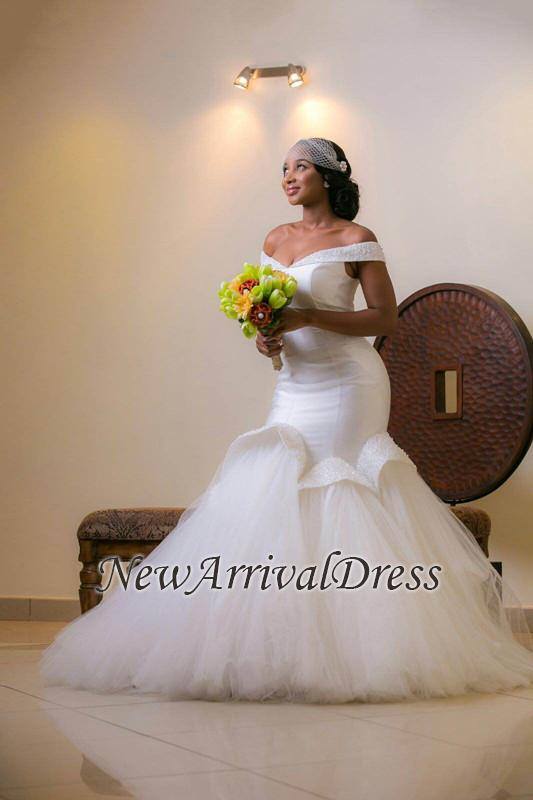 White Lace-up Sweep-Train Off-the-shoulder Tulle Glamorous Beads Mermaid Wedding Dress