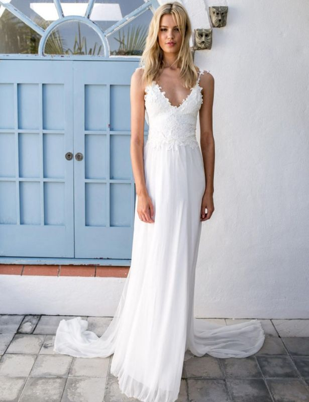 Backless Beach Wedding Dresses Cheap | Lace Chiffon Summer Bridal Gowns with Sash