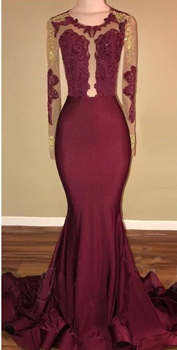 Amazing Burgundy Gold Prom Dresses | Long Sleeves Mermaid Evening Gowns