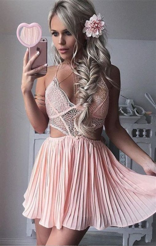 Cute Pink Lace Short Spaghetti Strap A-line Homecoming Dress | Modest Homecoming Dress