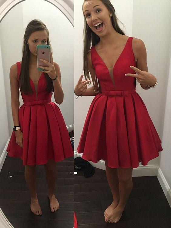 Sash Simple Bowknot V-neck Cheap Sleeveless Short Red Straps Homecoming Dress