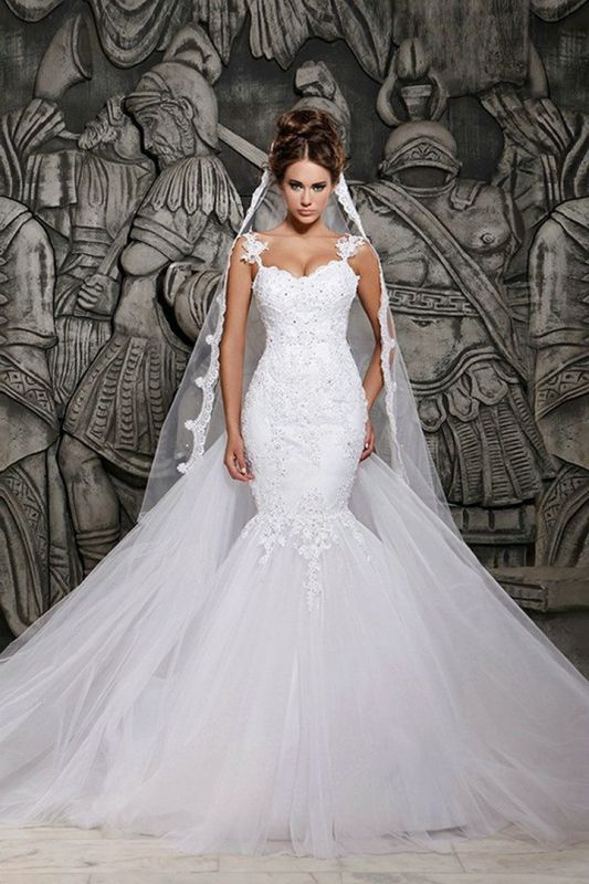 Mermaid Custom Made Lace Wedding Dresses Cheap | Sexy Spaghetti Straps Sheer Tulle Chapel Train Bridal Gowns
