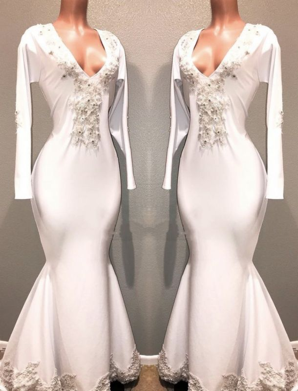ebb27aee6c3 Mermaid White Long Sleeves Evening Dresses
