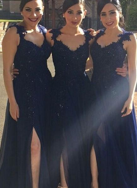 A-line Side-Slit Lace-Appliques Navy-Blue Chiffon Bridesmaid Dresses