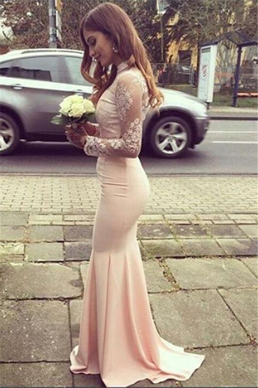Glamorous Mermaid High-Neck Long-Sleeves Appliques Bridesmaid Dresses